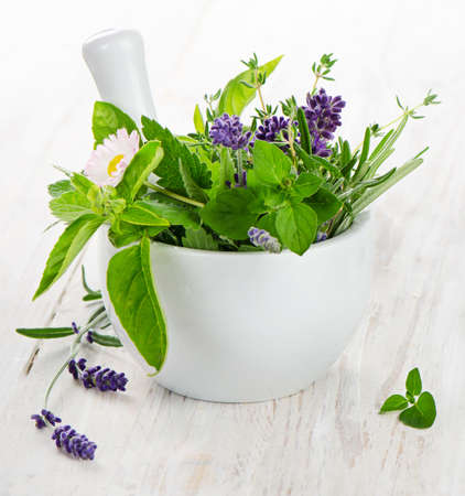 Fresh herbs on a wooden table photo