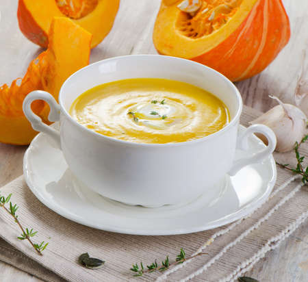 Pumpkin soup . Selective focus photo