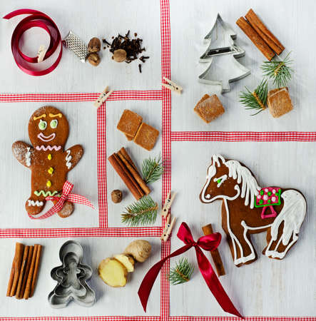 Christmas set of cookies and spices photo