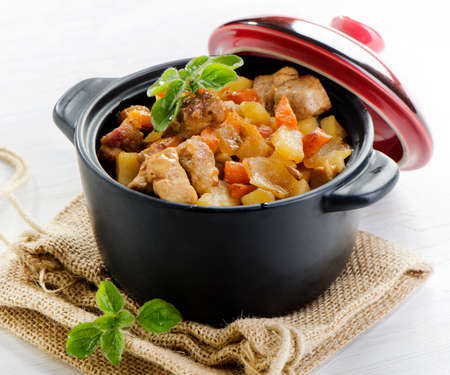 Vegetable and meat stew .Selective focus