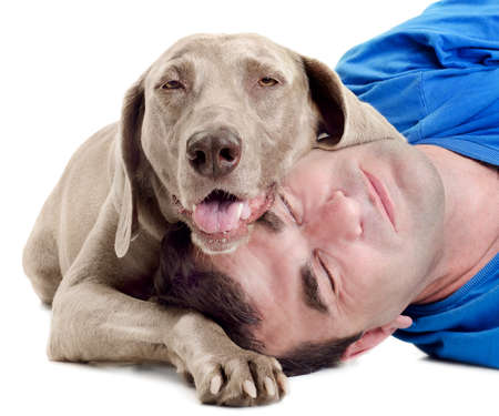 Happy man with  dog isolated on white background photo