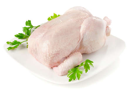 Whole raw chicken isolated  on a  white Stock Photo