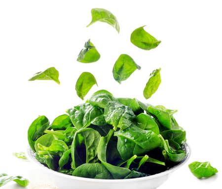 espinacas: Espinacas frescas hojas verdes aislados en blanco. Enfoque selectivo