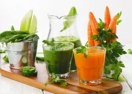 Healthy vegetable smoothie and juice.  Selective focus photo