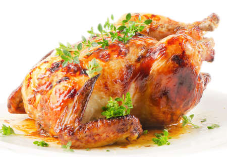 roast chicken isolated on a white background Stock Photo