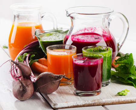 Healthy vegetable smoothie and juice