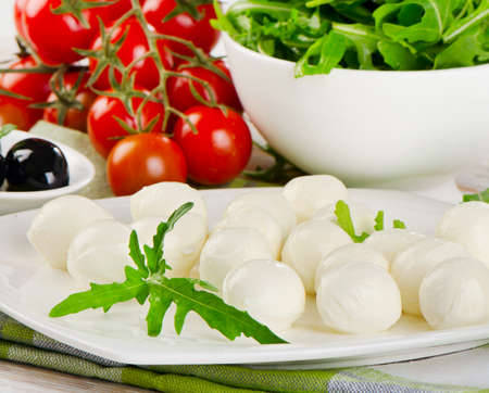 Healthy italian food - cheese with fresh vegetables. Selective focus photo