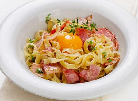Pasta Carbonara on a white plate. Selective focus photo