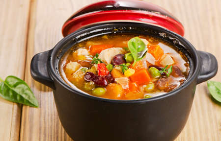 chunky: Minestrone soup with  beans and vegetables  Selective focus