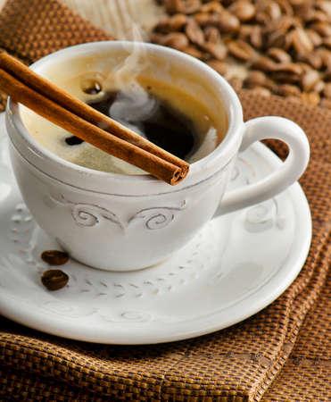 cinammon: Espresso coffee cup  with cinammon. Selective focus