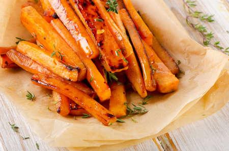 sweet foods: sweet potato  with  herbs . Selective focus