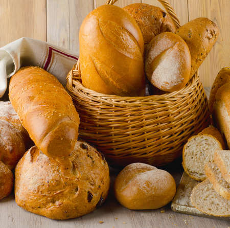 bakery products: fresh bread in basket  . Selective focus Stock Photo
