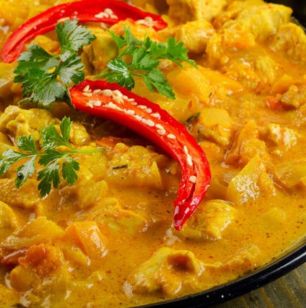 Indian Chicken curry in  bowl. Selective focus