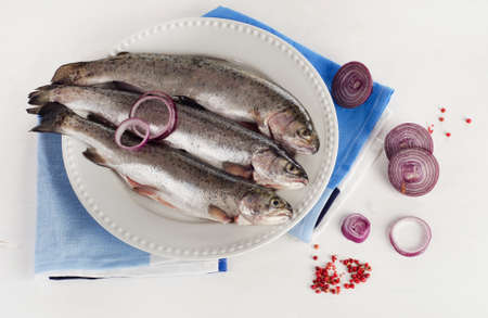 salmon fishery: Fresh Rainbow trouts on a white plate with herbs. Top view Stock Photo
