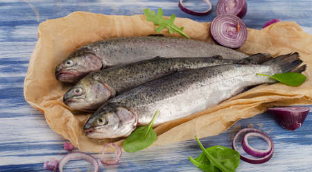salmon fishery: fresh trouts with spices and seasonings on a table