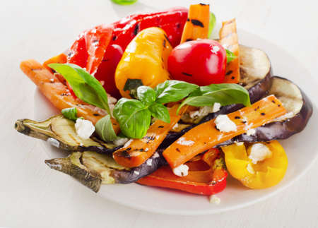 grilled vegetables: Grilled vegetables with feta and basil. Selective focus