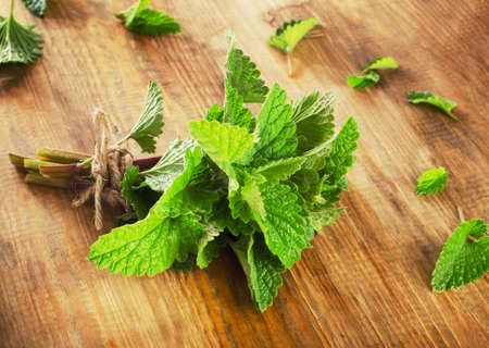 Bunch of Fresh mint leaves on  rustic wooden board. Selective focus