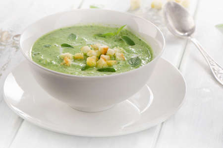 croutons: Creamy soup with croutons. Selective focus
