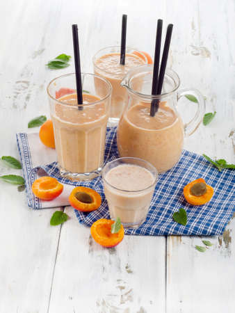 fruity: Fruity Smoothies with fresh fruits. Selective focus