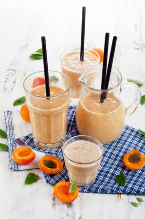 fruity: Fruity Smoothie with fresh apricots. Selective focus