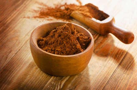 cacao: Cacao powder. Selective focus Stock Photo