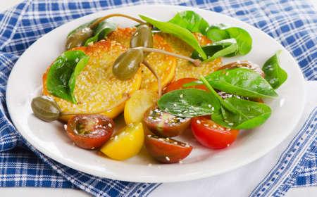 haloumi: Halloumi cheese  and fresh salad. Selective focus