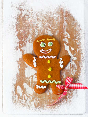 gingerbread man: Gingerbread man on wooden table