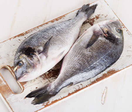 dorado fish: Fresh dorado fish on cutting board. Top view