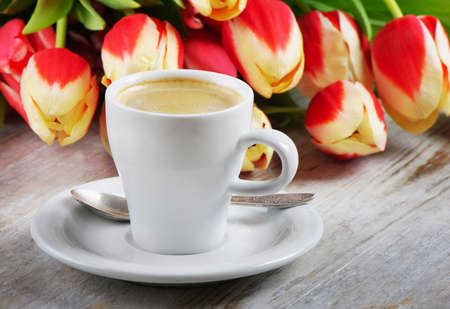gentile: Coffee and tulips Stock Photo