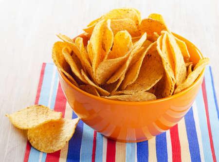 tortilla: A plate of tortilla nachos. Selective focus