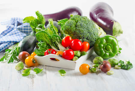 herbs boxes: Assortment of Organic healthy vegetables. Selective focus Stock Photo