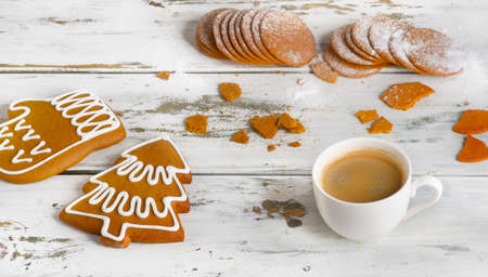 gingerbread cookie: Cup of espresso coffee with Christmas cookies. View from above Stock Photo