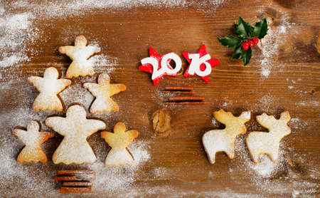 Christmas Tree Of Homemade Angel Cookies On A Wooden Background 2016 New Year Top
