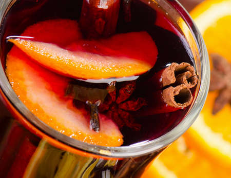 Mulled wine in glass. Closeup. View from above