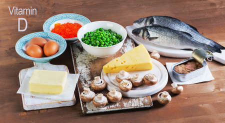 vitamin d: Food sources of vitamin D. View from above Stock Photo