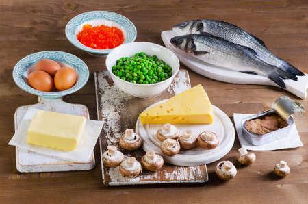 비타민 D.의 음식 위에서 전망 스톡 콘텐츠