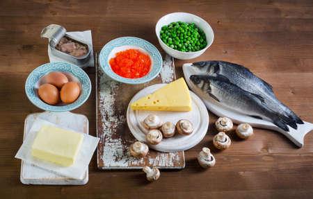 ビタミン + 健康的な食事で最高の食品です。トップ ビュー 写真素材