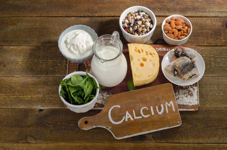 Calcium Rich Foods Sources. Healthy diet eating. View from above Stok Fotoğraf
