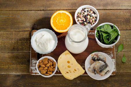 calcium: Food Sources of Calcium. Healthy eating. Top view