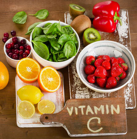 vitamin: Food containing vitamin A. View from above