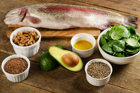 unsaturated fat: Foods highest in Omega-3 fatty acids. Healthy eating.