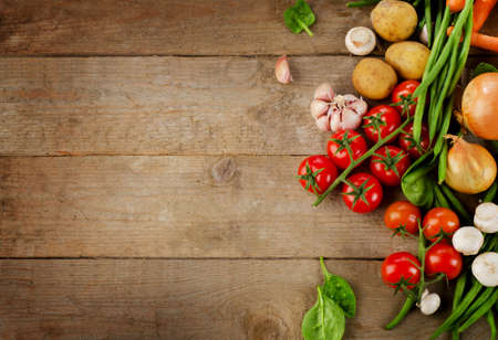 Healthy organic foods on wooden background. Top view