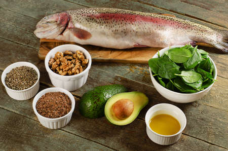 unsaturated fat: Foods highest in Omega-3 fatty acids. Healthy eating. Top view