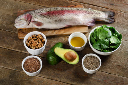 omega3: Foods highest in Omega-3 fatty acids. Healthy diet eating. Top view