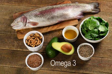 omega3: Foods highest in Omega-3 fatty acids. Healthy diet eating.