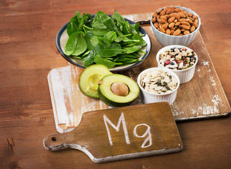 magnesium: Magnesium Rich Foods on  wooden table.