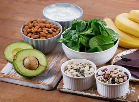 magnesium: Foods High in Magnesium. Healthy diet eating. Stock Photo