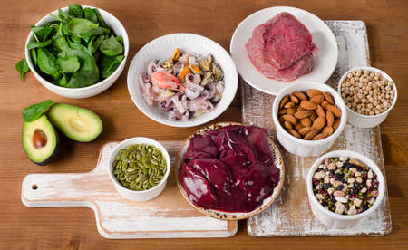 Foods with Zinc on wooden table. Top view Stockfoto