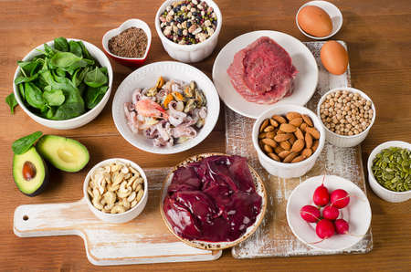 Foods with Zinc mineral. Top view