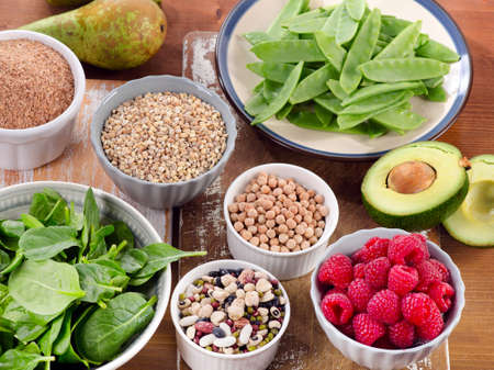 Foods rich in Fiber on wooden table. Healthy eating. Selective focus Stockfoto
